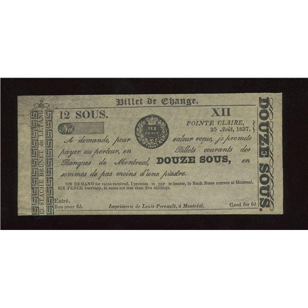 Eustache Brunet 12 sous/6 Pence, 1837