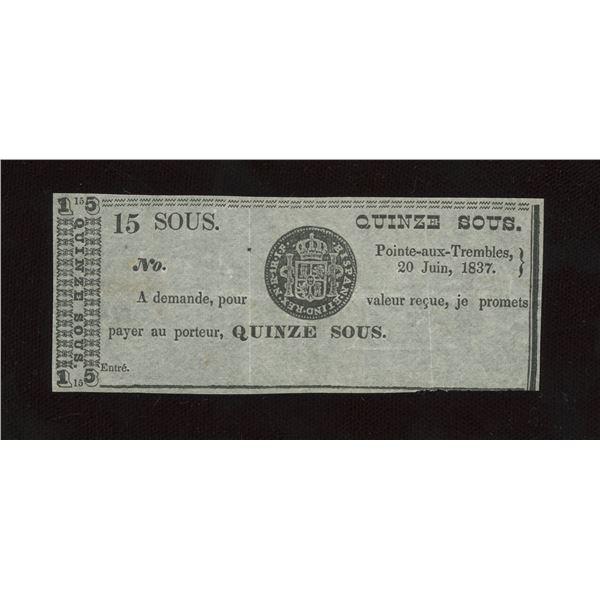 J.B. Cadieux 15 Sous, 1837 - Remainder