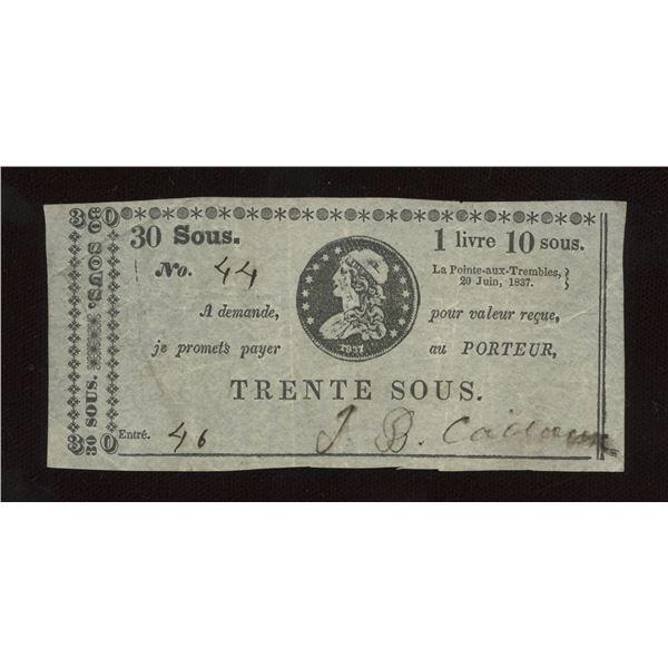 J.B. Cadieux 30 sous/1 Livre 10 sous, 1837
