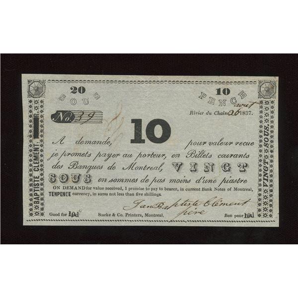 Jean Baptiste Clement 20 sous/10 Pence, 1837