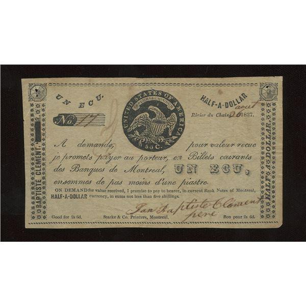 Jean Baptiste Clement Un Ecu/Half-A-Dollar, 1837