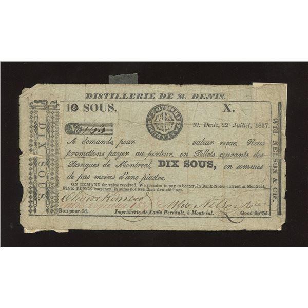 WFD. Nelson & Co. - Distillerie de St. Denis, L.C. 10 Sous or 5 Pence July 22 1837