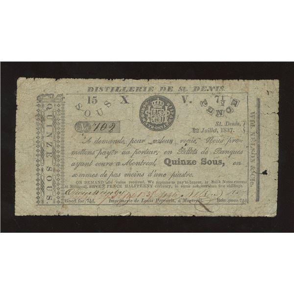 WFD. Nelson & Co. - Distillerie de St. Denis, L.C. 15 Sous or 7 ½ Pence July 22 1837