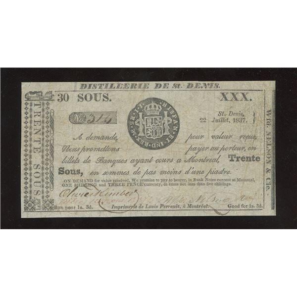 WFD. Nelson & Co. - Distillerie de St. Denis, L.C. 30 Sous or 1 Shilling 3 Pence July 22 1837