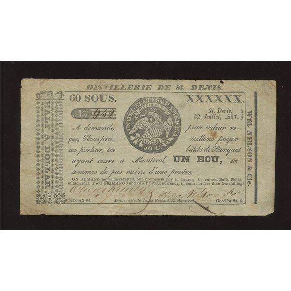 WFD. Nelson & Co. - Distillerie de St. Denis, L.C. 60 Sous or 2 Shillings 6 Pence July 22 1837