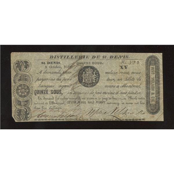 WFD. Nelson & Co. - Distillerie de St. Denis, L.C. 15 Sous or 7 ½ Pence October 9, 1837