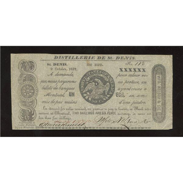 WFD. Nelson & Co. - Distillerie de St. Denis, L.C. 1 Ecu or 2 Shillings 6 Pence October 9, 1837