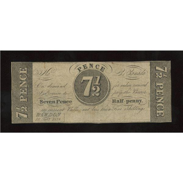 Neil Doherty, Rawdon, Lower Canada. 7 Pence Half Penny, 1838