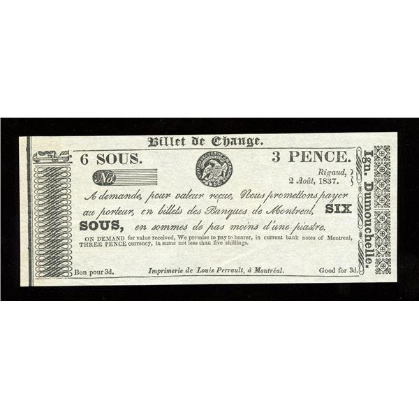 IGN. Dumouchelle 6 sous/3 Pence, 1837 - Remainder