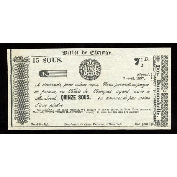 IGN. Dumouchelle 15 sous/7 ½ Pence, 1837 - Remainder