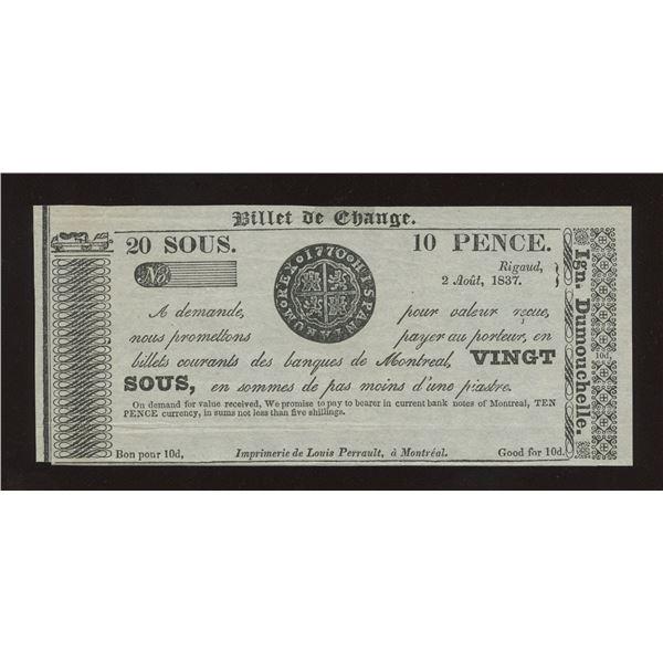 IGN. Dumouchelle 20 sous/10 Pence, 1837 - Remainder