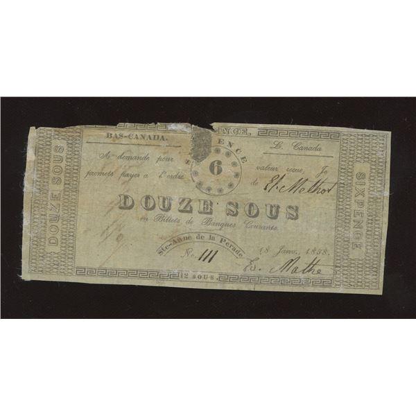E. MATHE. Ste-Anne de la Perade, L.C. 6 Pence, (Douze Sous). Jan. 18, 1838