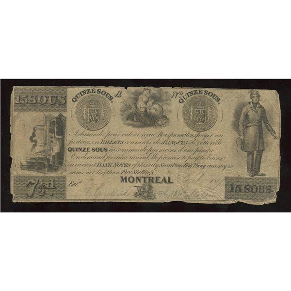 Thomas & Wm. Molson 15 Sous/7 ½ Pence, 1837