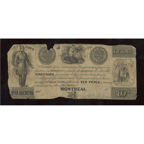 Thomas & Wm. Molson 20 sous/10 Pence, 1837