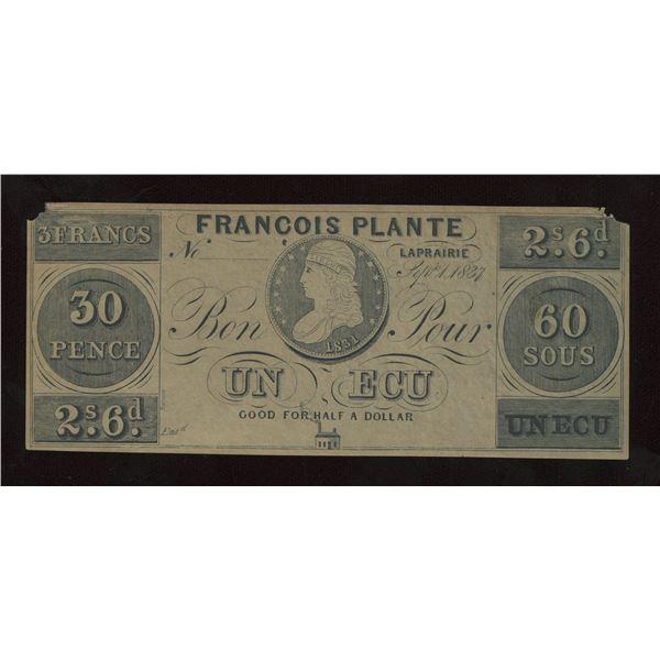 Francois Plante 60 sous/ 30 Pence - Remainder
