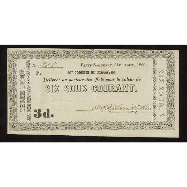 W.P. & David E. Price, 6 Sous/3 pence, Petit Saguenay, 1850