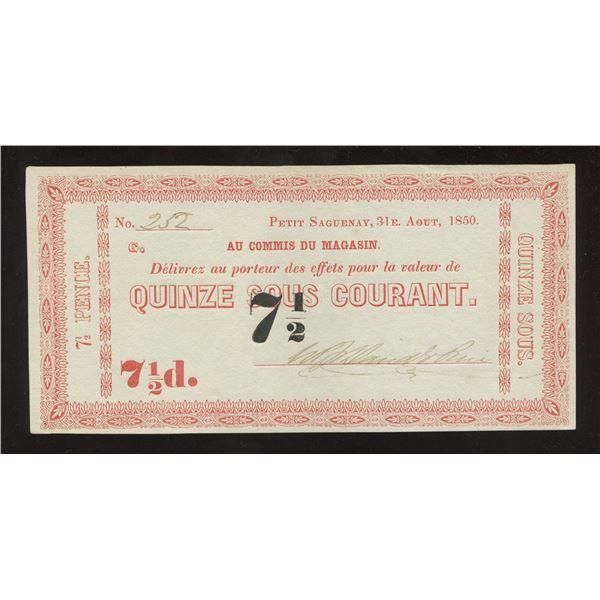 W.P. & David E. Price, 7 ½ Pence, Petit Saguenay (Radar)