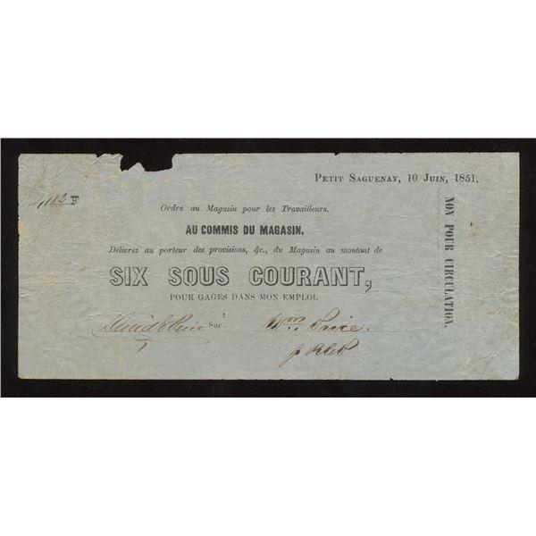 Wm Price, Petit Saguenay, Six Sous, 1853