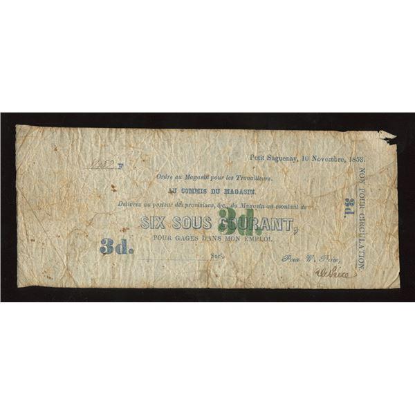 Wm Price, Petit Saguenay, 3 Pence, 1853