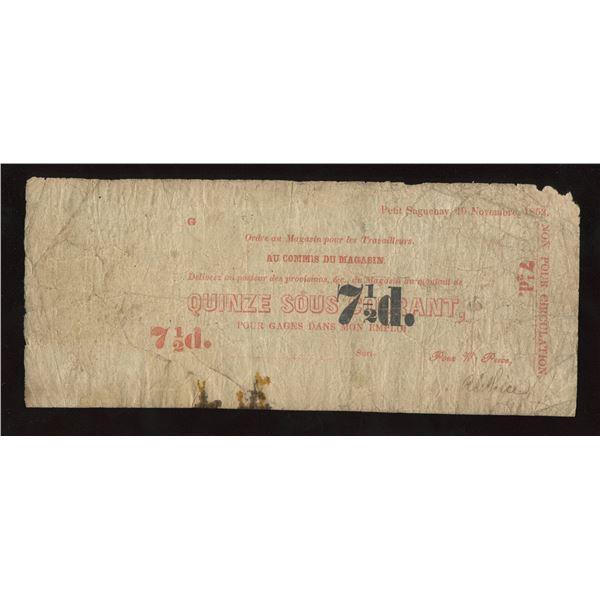 Wm Price, Petit Saguenay, 7 ½ Pence, 1853.