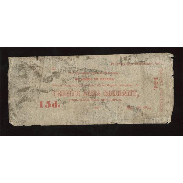 Wm Price, Petit Saguenay, 30 Sous/15d, 1853.