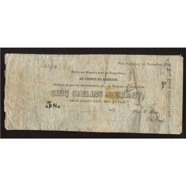 Wm Price, Petit Saguenay, 5 Shillings, 1853