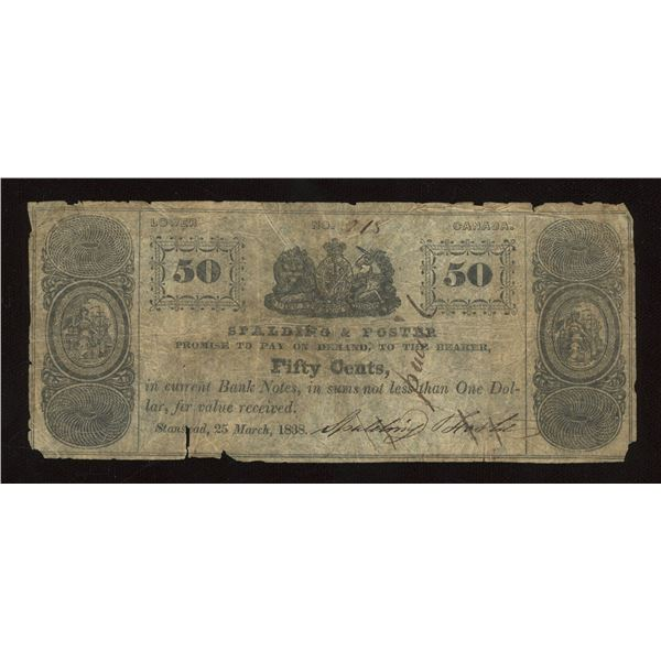 Spalding & Foster Fifty Cents, Lower Canada