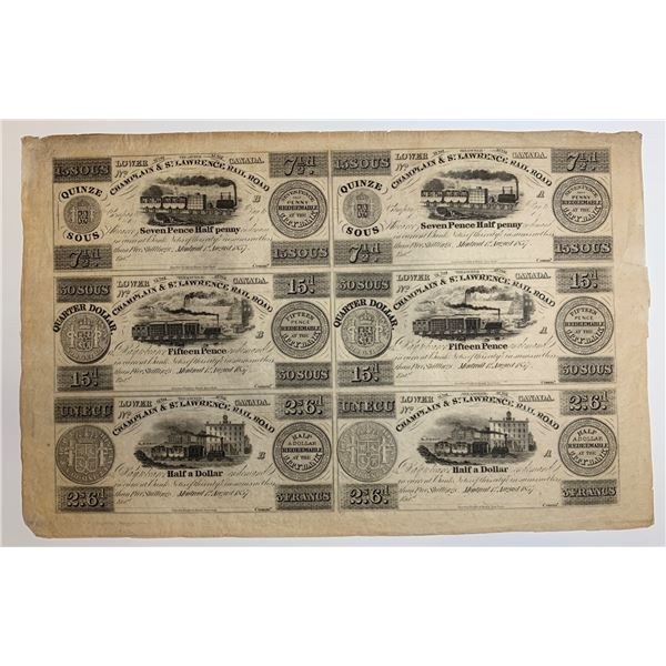 Champlain & St. Lawrence Rail Road, 1837 Uncut Remainder Sheet