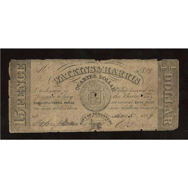 Watkins & Harris 1/4 Dollar, 1839
