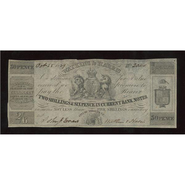 Watkins & Harris 2 Shillings & 6 Pence, 1839