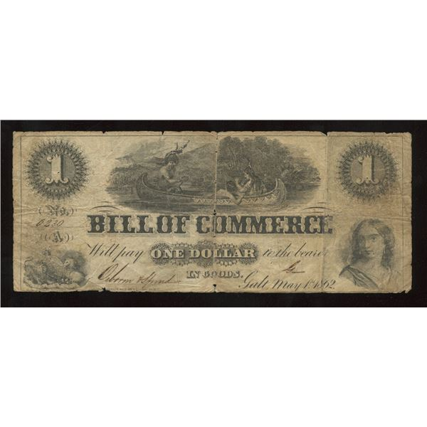 Bill of Commerce, Galt Ontario $1, 1862