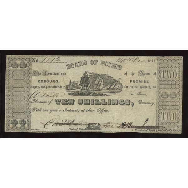 Cobourg Board of Police 1848, 10s ($2) Municipal Issue