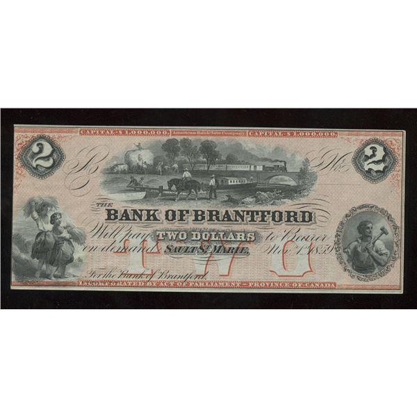 H. Don Allen Collection - Bank of Brantford $2, 1859