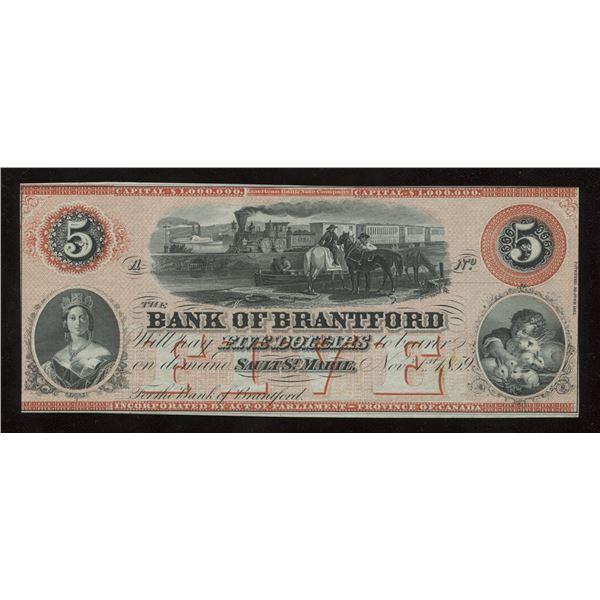 H. Don Allen Collection - Bank of Brantford $5, 1859