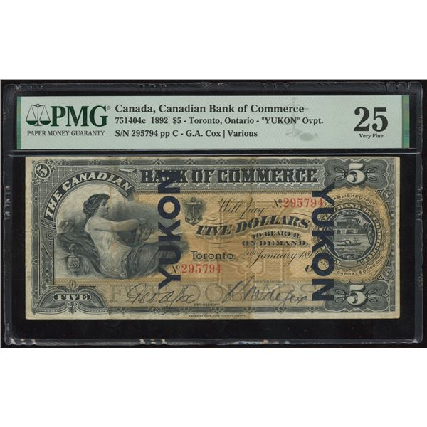 H. Don Allen Collection - Canadian Bank of Commerce $5, 1892 YUKON O/P