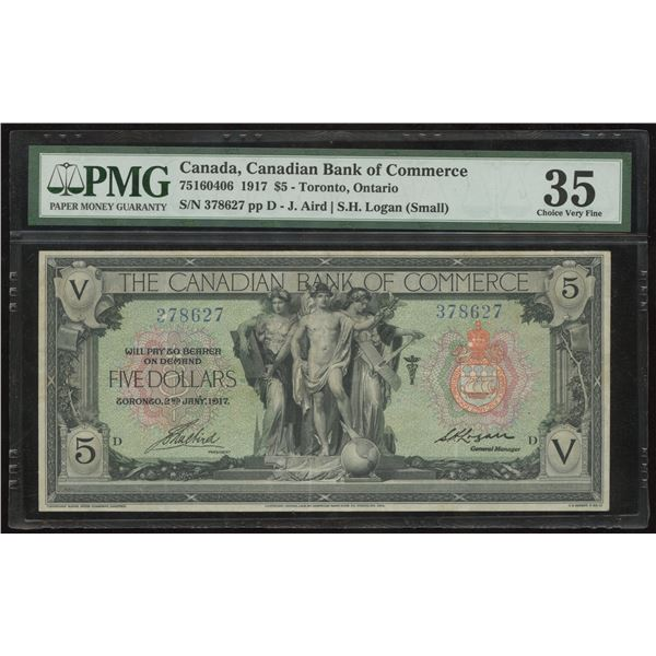 Canadian Bank of Commerce $5, 1917