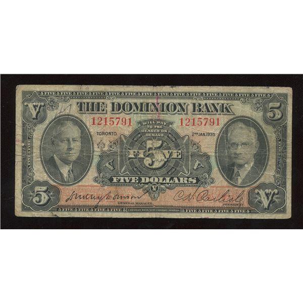 H. Don Allen Collection - Dominion Bank $5, 1935