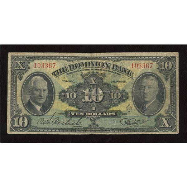 H. Don Allen Collection - Dominion Bank $10, 1938