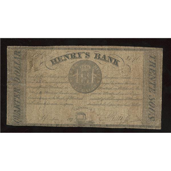 Henry's Bank 30 sous/Quarter Dollar, 1837