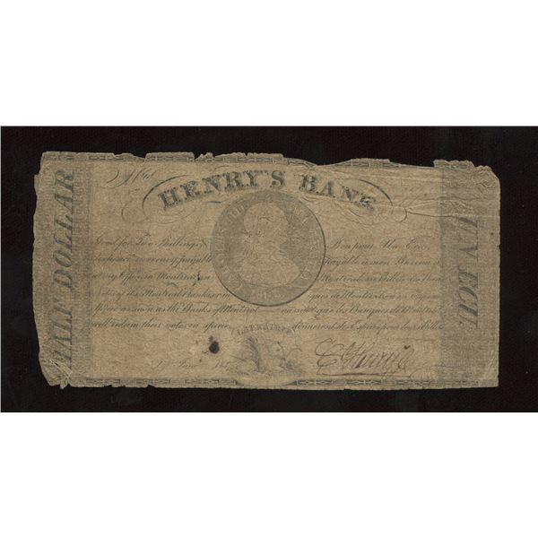 Henry's Bank Un Ecu, 1837