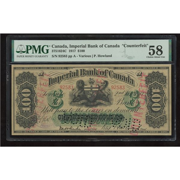 Imperial Bank of Canada $100, 1917 - Contemporary Counterfeit