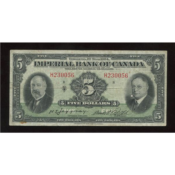H. Don Allen Collection - Imperial Bank of Canada $5, 1934