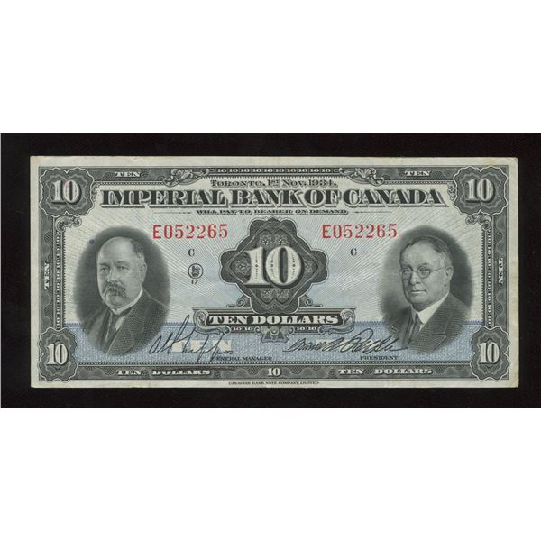 H. Don Allen Collection - Imperial Bank of Canada $10, 1934
