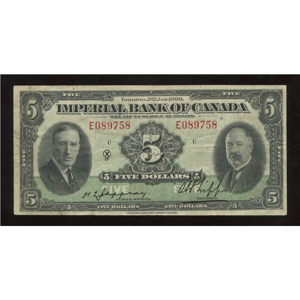 H. Don Allen Collection - Imperial Bank of Canada $5, 1939