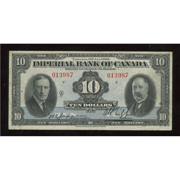 H. Don Allen Collection - Imperial Bank of Canada $10, 1939