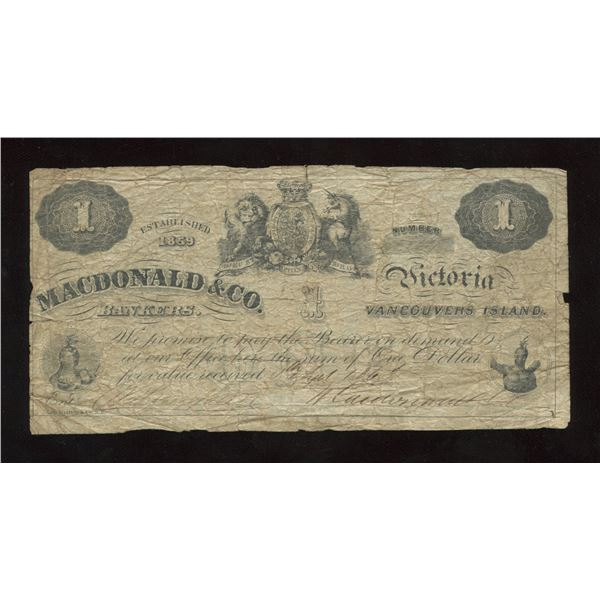 H. Don Allen Collection - MACDONALD & CO. Bankers $1, 1863