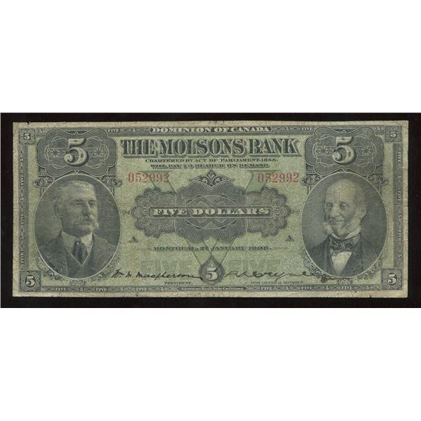 H. Don Allen Collection - Molsons Bank $5, 1908