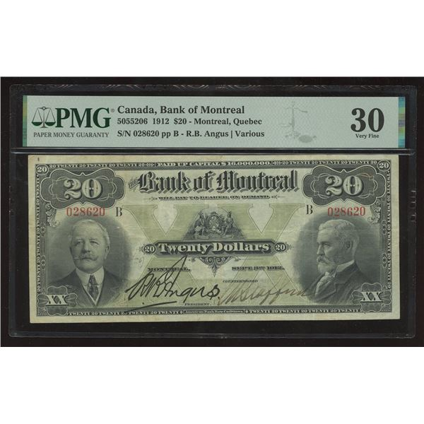 Bank of Montreal $20, 1912