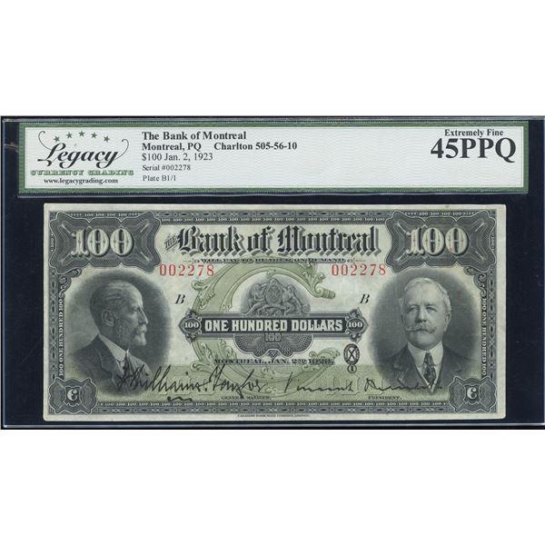 Bank of Montreal $100, 1923
