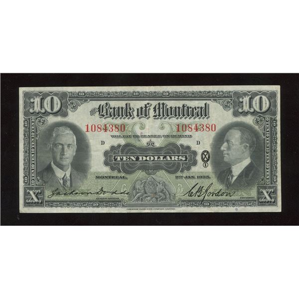H. Don Allen Collection - Bank of Montreal $10, 1935